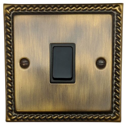 G&H MAB1B Monarch Roped Antique Bronze 1 Gang 1 or 2 Way Rocker Light Switch